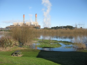 Huntly Power Station and Waikato River.