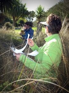 Recording species in a vegetation plot. WETMAK workshop, Southland 2012.