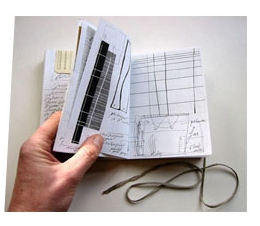Note book for observations and ideas while in the U.S. Mixed media.