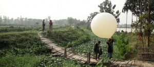 Balloon mapping, Kolkata Wetlands, imge courtesy of http://kolkatawetlands.org/