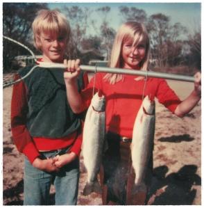 Trout fishing, Rotorua 1980. Or pest control?