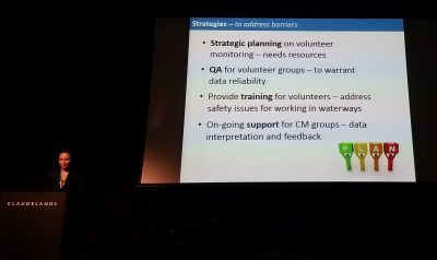 Samira van Hunen discusses strategies to overcome barriers identified with the NIWA community water quality monitoring study: Agency strategic planning; Quality assurance for volunteers' data; Training for volunteers and ongoing support for volunteers including data interpretation and feedback